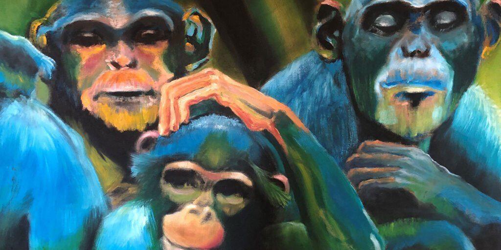 Gemälde auf dem 3 Affen zu sehen sind. Die Farbe ihres Fells ist blau
